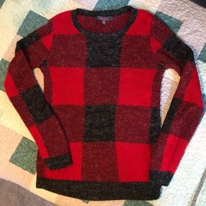 Beautiful red and gray buffalo plaid sweater